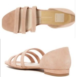 Dolce Vita Blush Suede Strappy Open Caged Flat 9